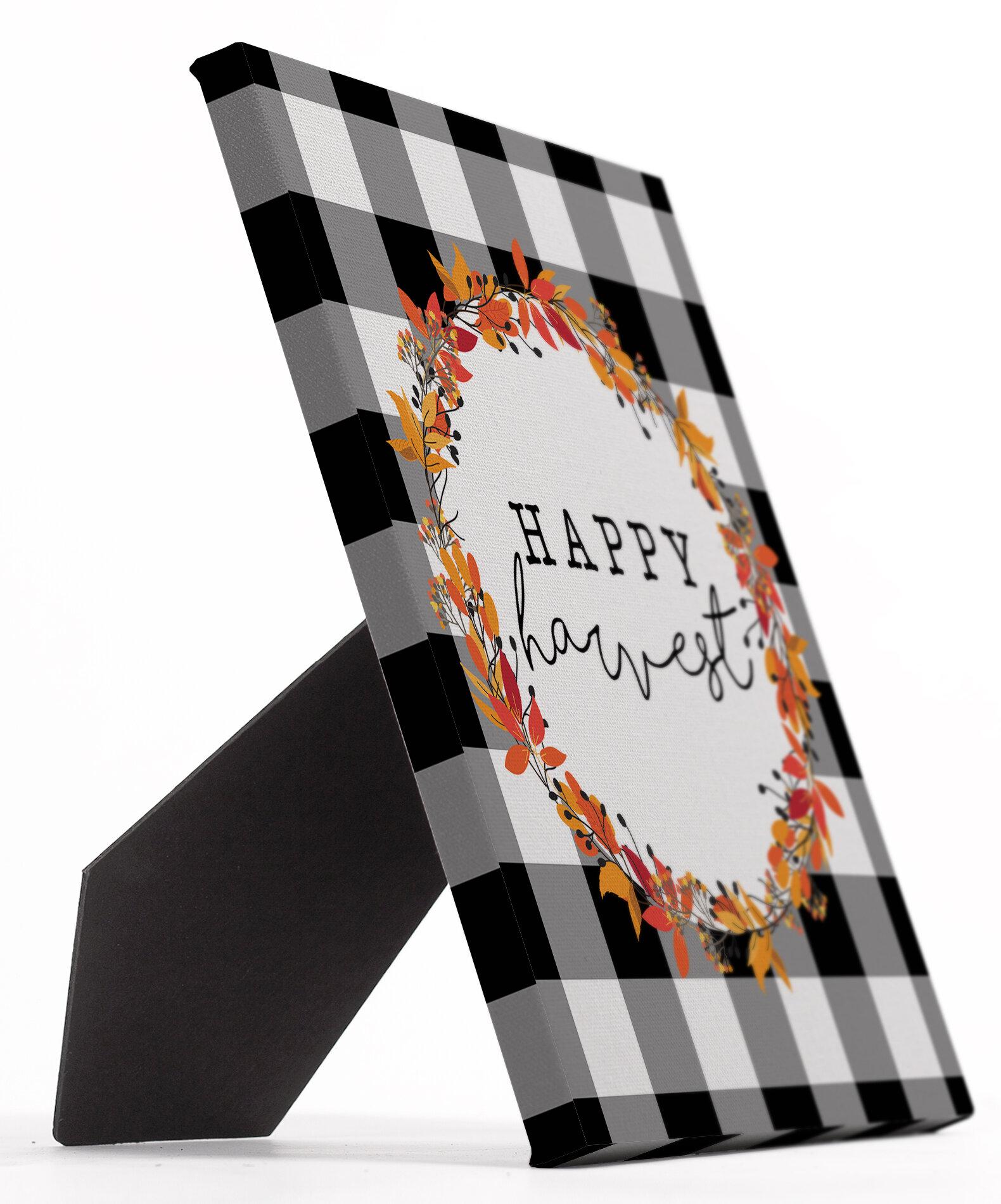 The Holiday Aisle Wilkie Happy Harvest Wreath Easelback Decorative Plaque Wayfair
