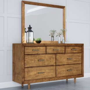 Glassman Retro Wood 7 Drawer Dresser with Mirror by George Oliver