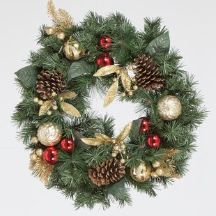 60cm Red Ornament And Gold Berry Christmas Wreath Image