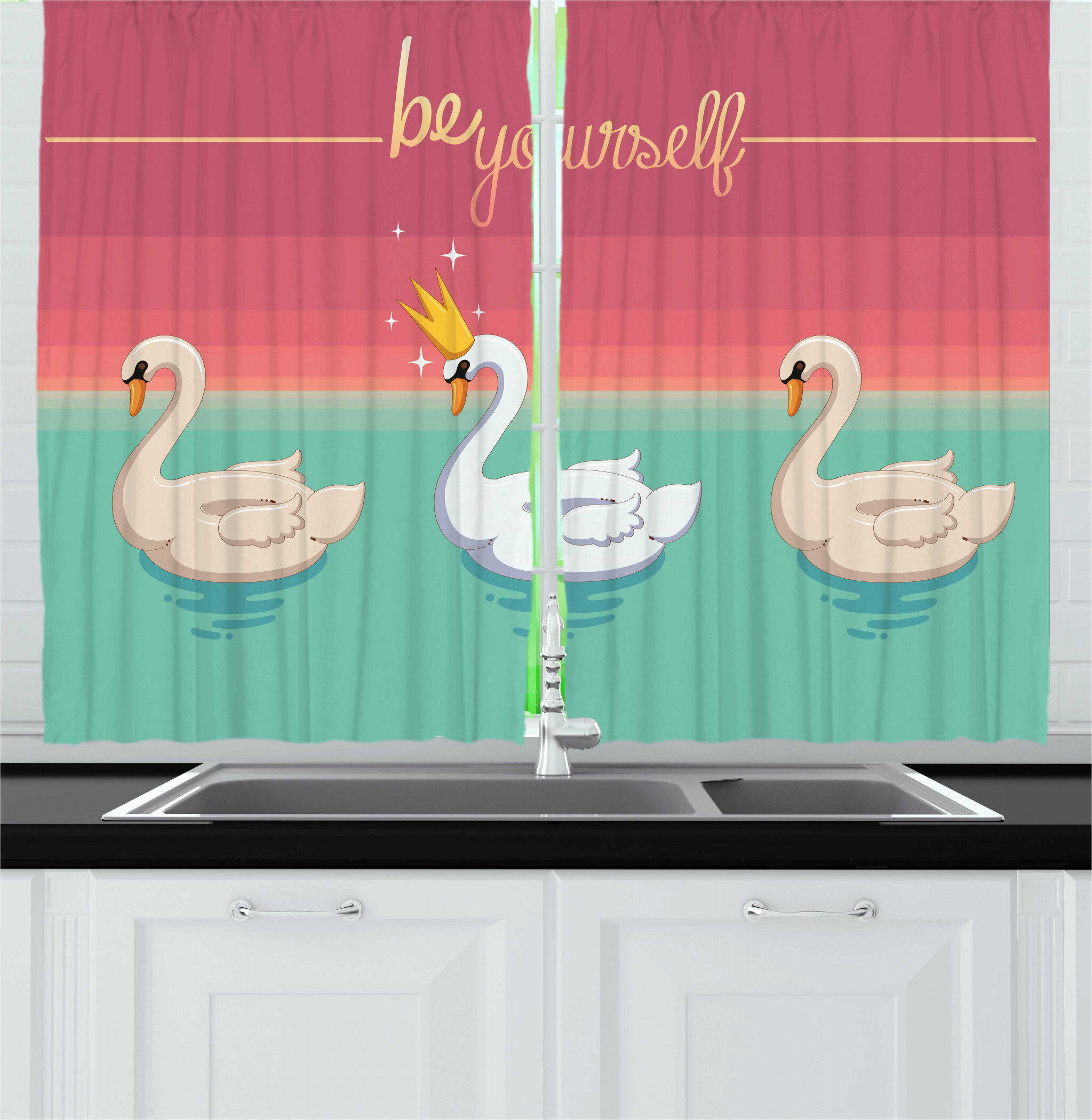East Urban Home 2 Piece Saying Be Yourself Typography Aquatic Bird With A Crown On Lake Pattern Kitchen Curtain Set Wayfair