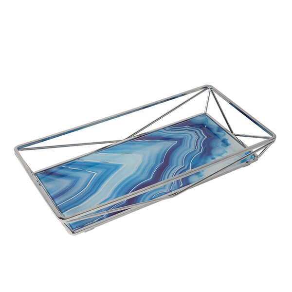 Mercer41 Ahern Cobalt Agate Design Geometric Vanity Tray Reviews Wayfair