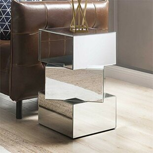 Shumway Mirror and Glass End Table by Orren Ellis