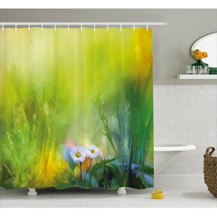 Cindi Oil Paint Print With Daisies Single Shower Curtain