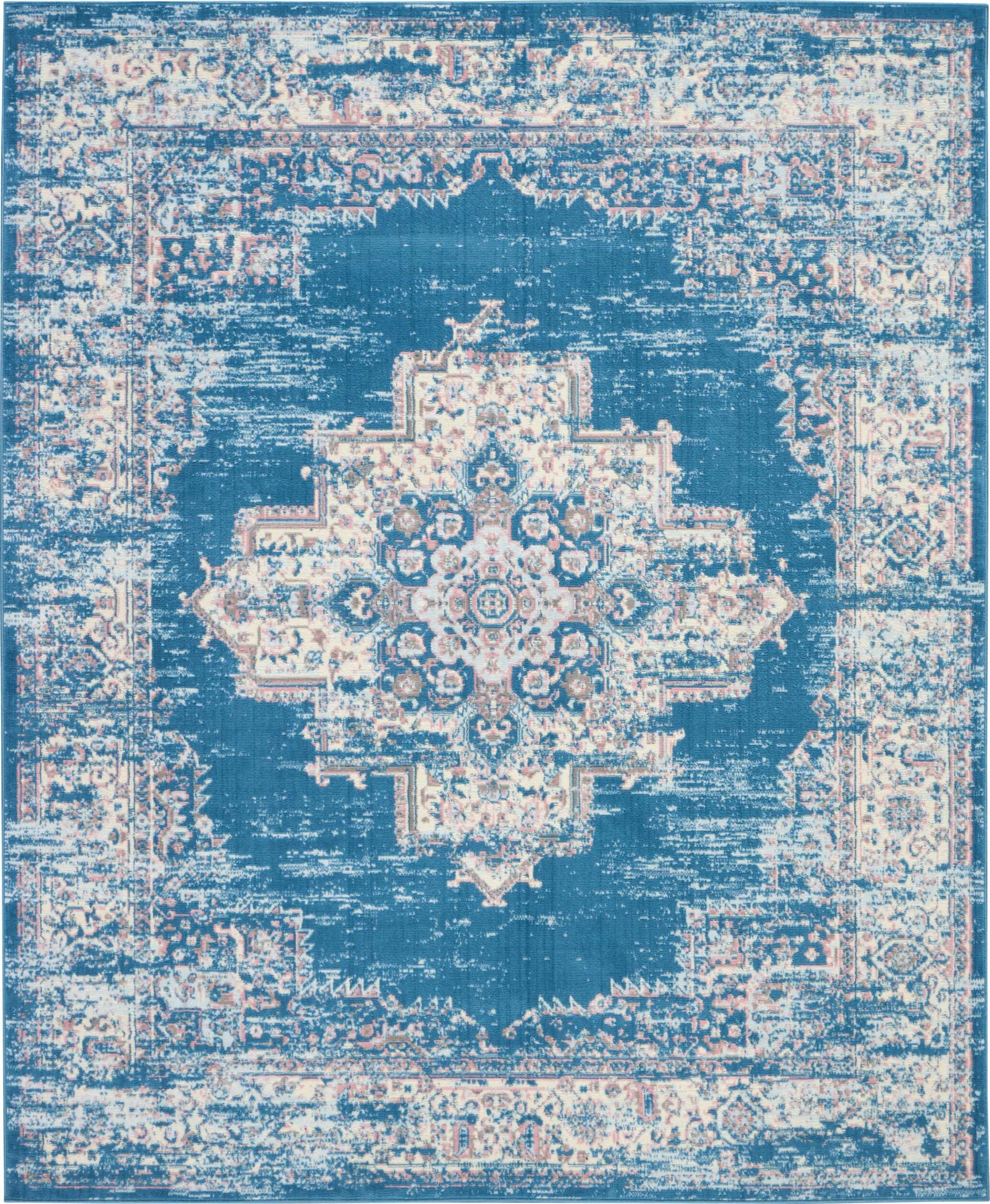 Charlton Home Susan Traditional Distressed Medallion Blue Ivory Area