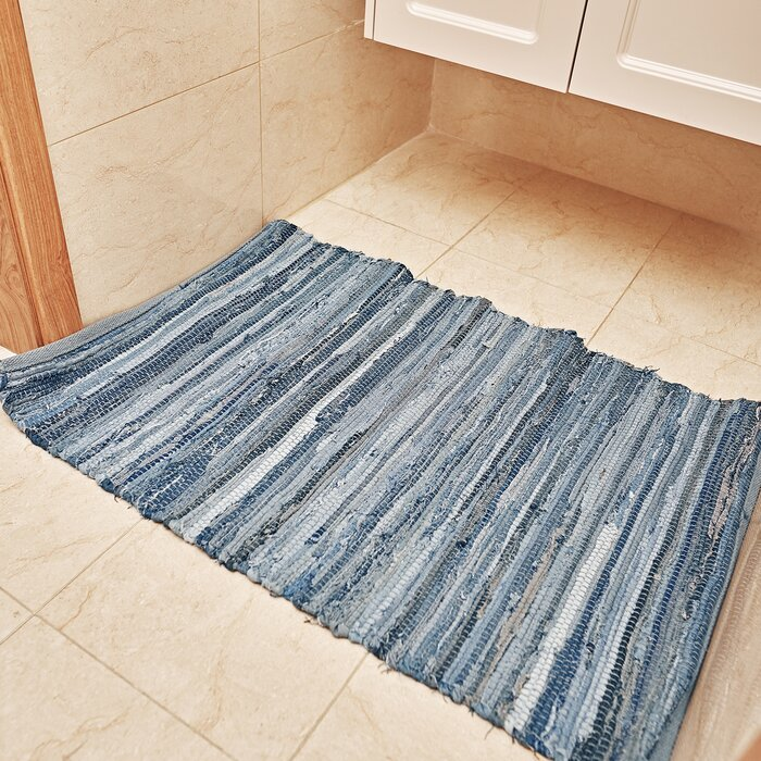 Ebern Designs Denim Rag Rug Washable Cotton Hand Woven Reversible Blue  Striped Recycled Throw Rug Entryway Laundry Room Kitchen,2\'×3\'