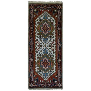 Roselle Traditional Hand Woven Wool Brown/Blue Geometric Area Rug