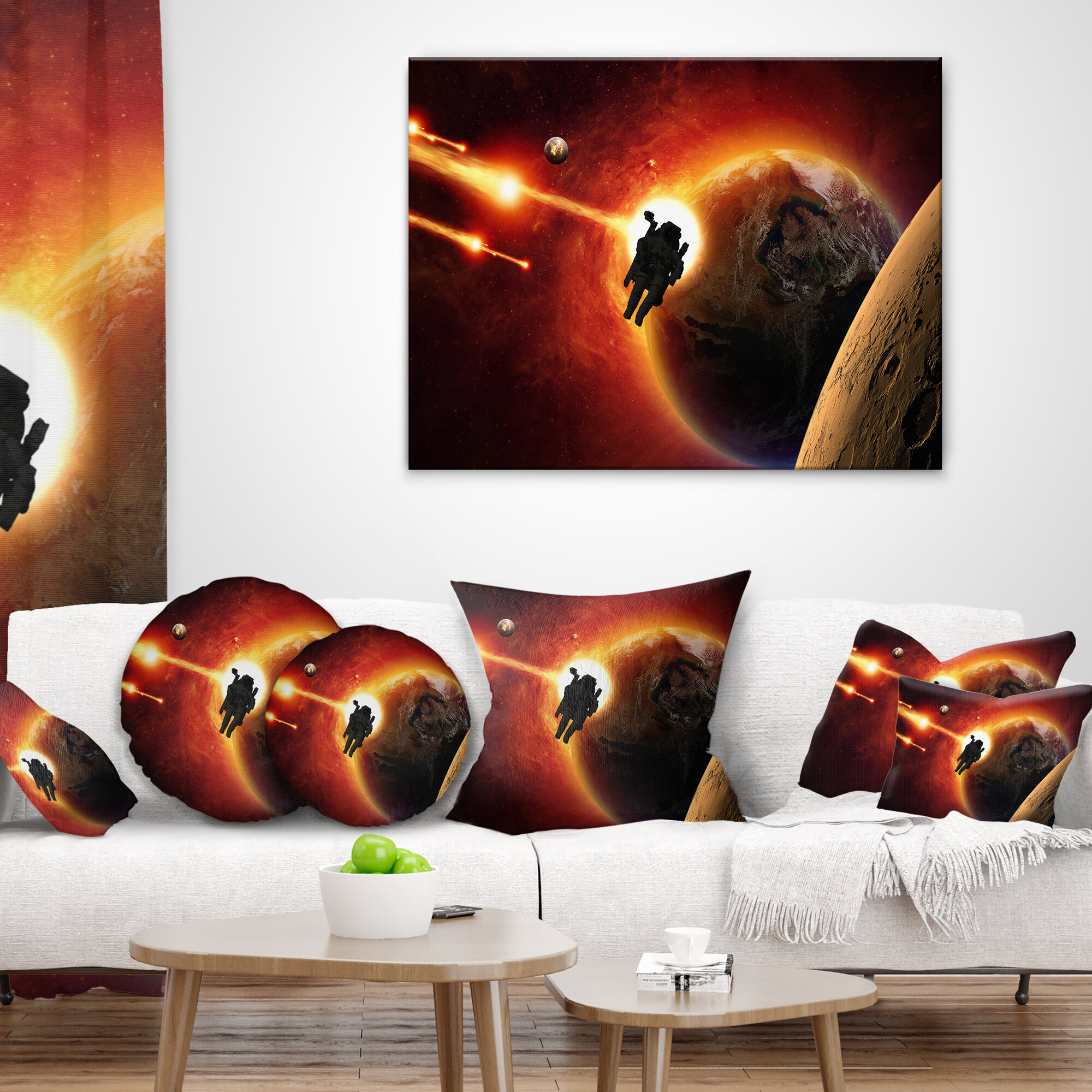 East Urban Home Spacescape Mission To Mars Pillow Wayfair
