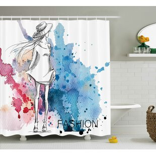 Tiffany Sketchy Fashion Lady Hat At Watercolor Splash Brushstroke Steam Artsy Image Single Shower Curtain by Ebern Designs Best #1