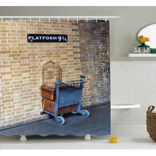 Barron Secret Way to The Train to Magical World Kings Cross Station Famous Landmark Picture Single Shower Curtain