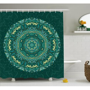 Nijmegen Mandala Religious Eastern Ancestral Circle Form With Swirling Leaves Revival Retro Design Single Shower Curtain