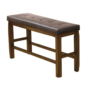 Millwood Pines Odysseus Wooden Counter Height Leather Dining Bench