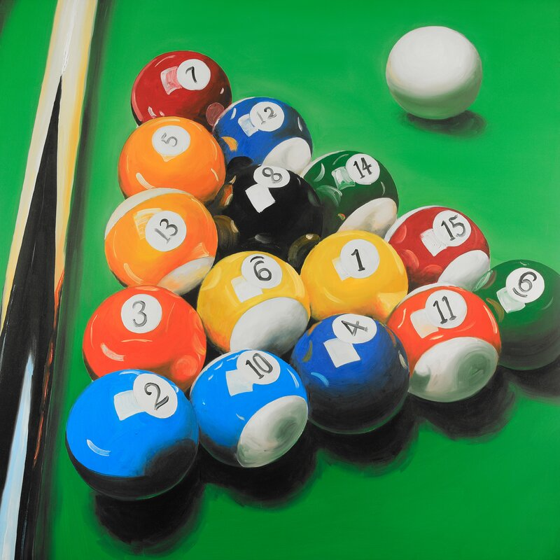 Winston Porter Pool Table With Ball Formation Oil Painting Print - Pool table painting