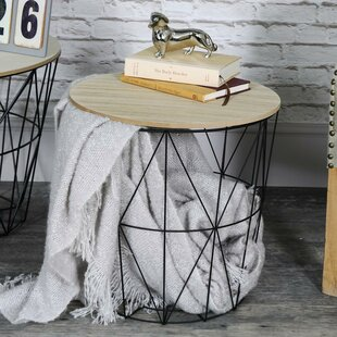 Metal wire side table wayfair crouse metal wire basket wooden top side table keyboard keysfo Choice Image