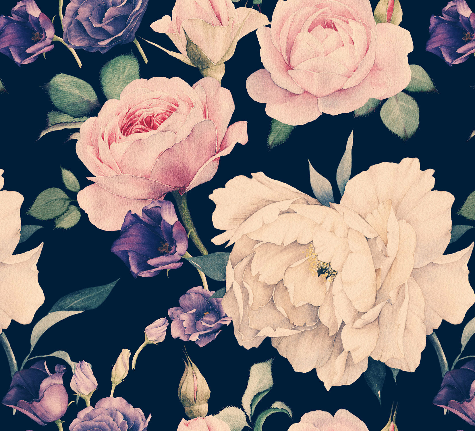 Bungalow Rose Latona Removable Watercolor Large Floral Dark 4 17