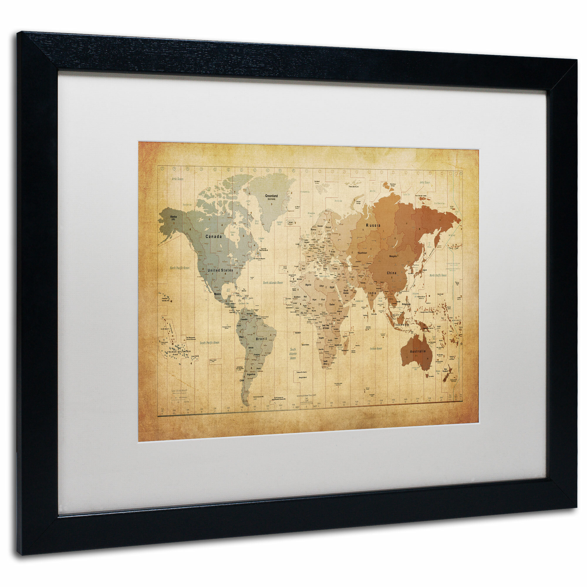 Trademark Art \'Time Zones Map of the World\' by Michael Tompsett ...