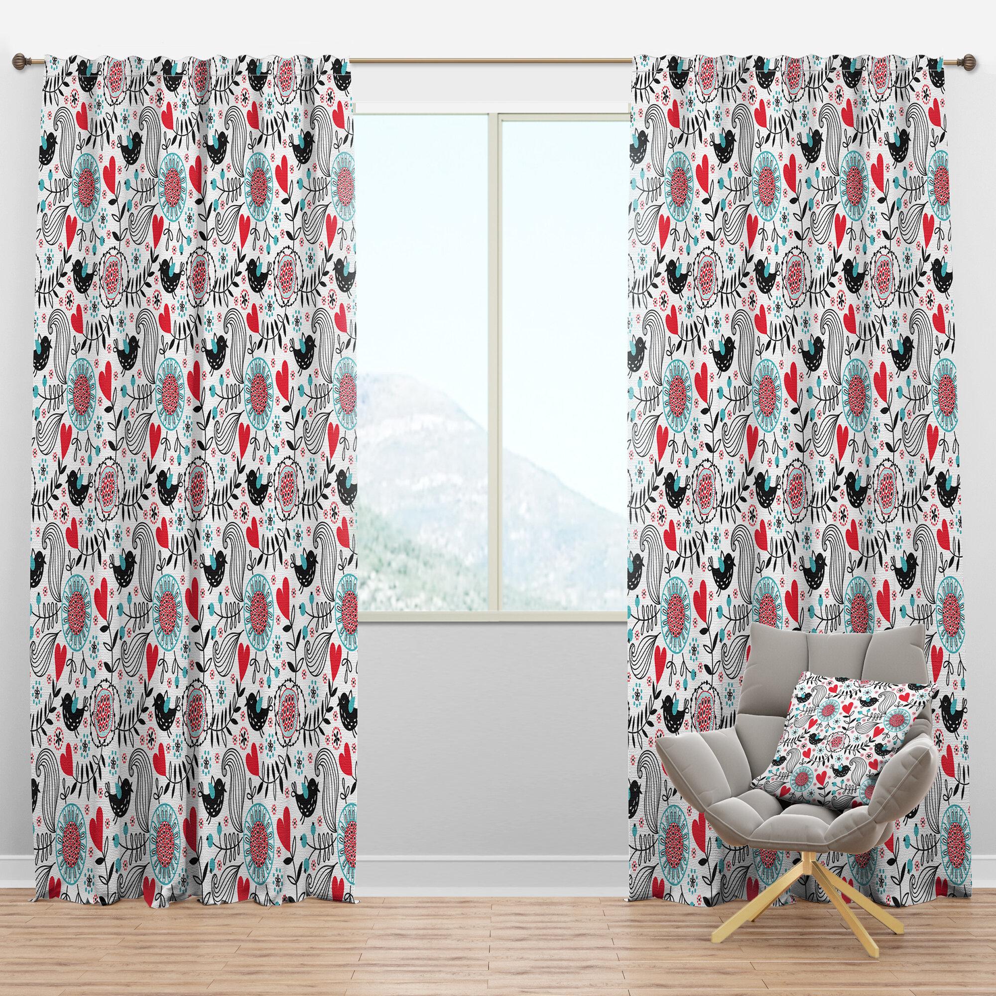 Designart Romantic Floral Semi Sheer Thermal Rod Pocket Curtain Panel Wayfair