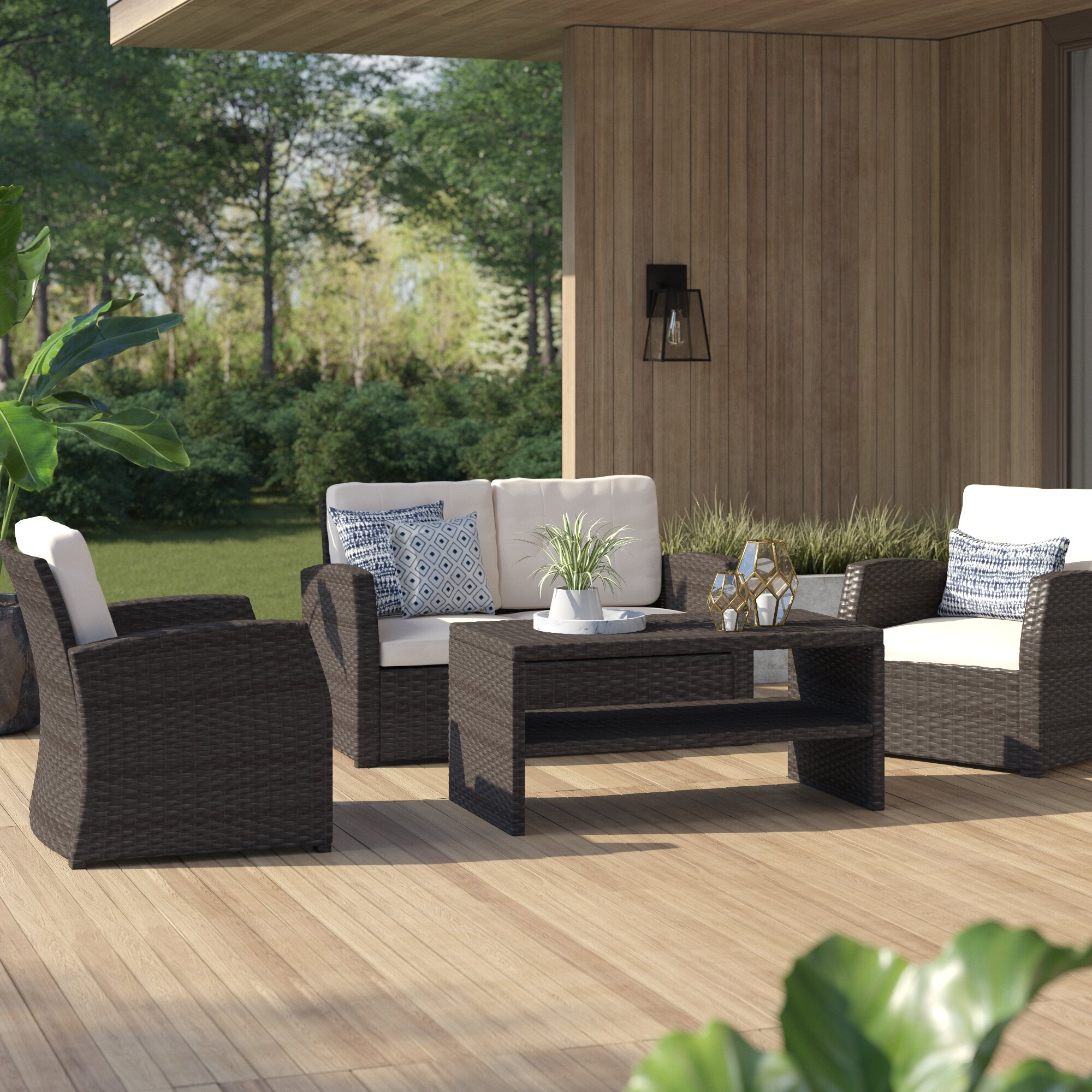 Rosecliff Heights Bakke 4 Piece Rattan Sofa Seating Group With Cushions Reviews Wayfair