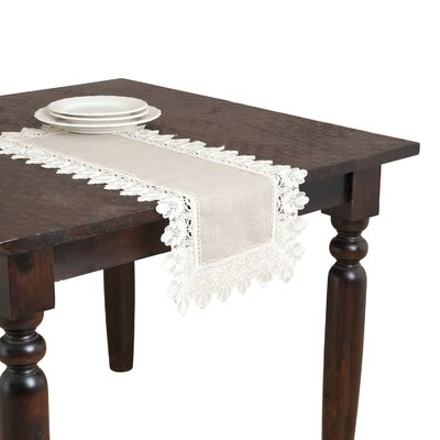 """Jeremie Table Runner Lark Manor Size: 108"""" x 16"""", Color: Taupe"""