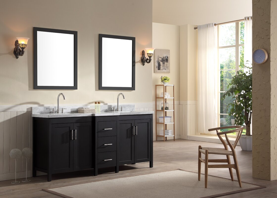 double sink with vanity. Hollandale 73  Double Sink Vanity Set With Mirrors Ariel Bath