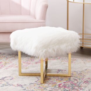 Wembley Stainless Steel Faux Fur Accent Stool