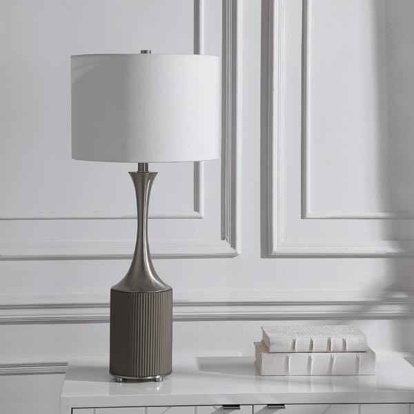 Orren Ellis Fern 34 Gray Table Lamp Wayfair