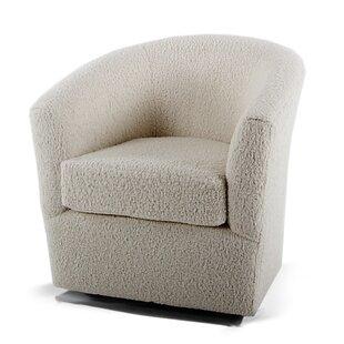 Rosa Faux Sheepskin Swivel Barrel Chair by Loon Peak