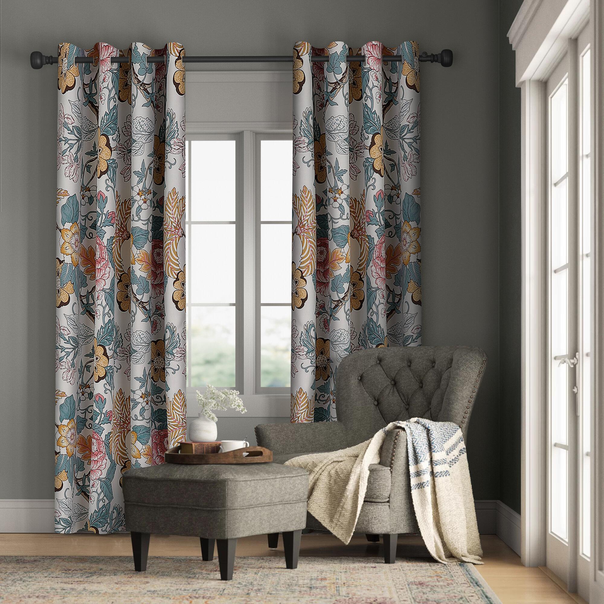 Crookston Floral Room Darkening Thermal Rod Pocket Curtain Panels Reviews Birch Lane