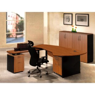 OfisELITE Executive Management 5 Piece L-Shaped Desk Office Suite