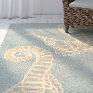Ismene Hand-Hooked Canal Blue Indoor/Outdoor Area Rug