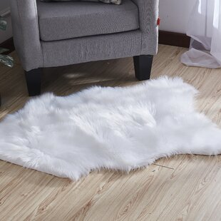 Find Harworth Luxury Hand-Tufted Faux Fur White Area Rug By House of Hampton