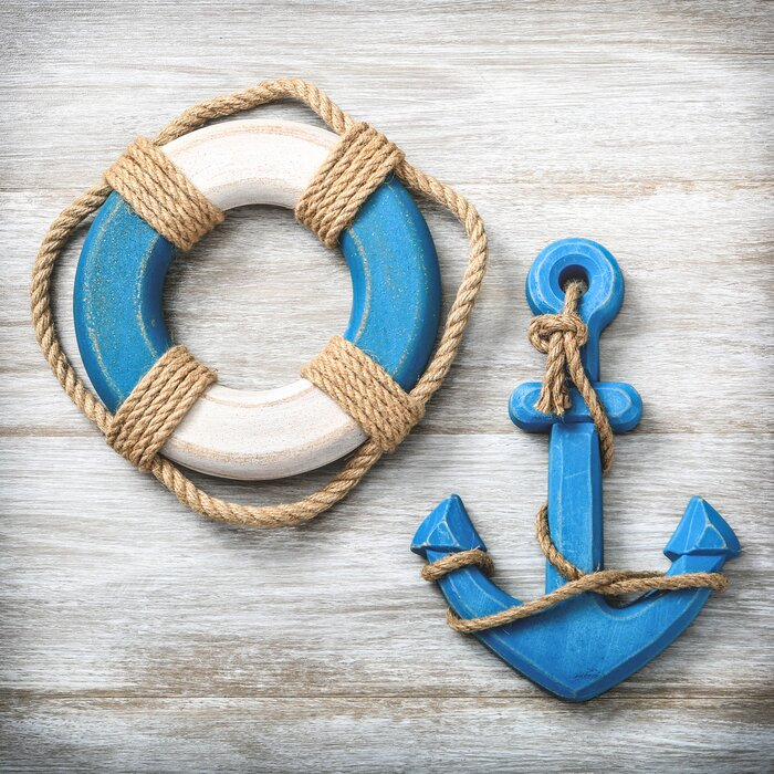 2 Piece Life Preserver And Anchor Wall Decor Set