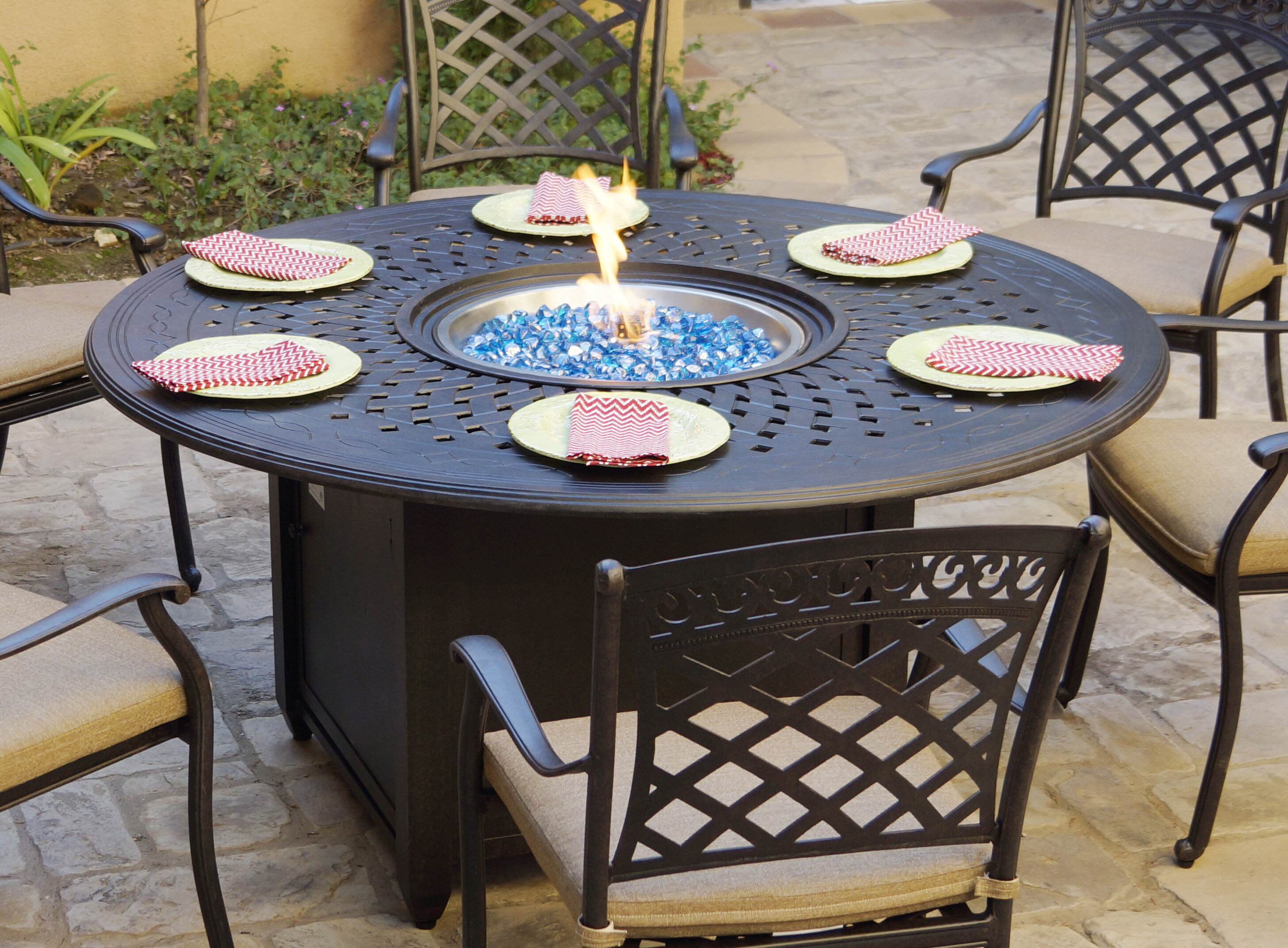 Fleur De Lis Living Slavens Patio Dining 60 Round Aluminum Propane Fire Pit Reviews Wayfair