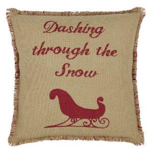 Sleigh Burlap Throw Pillow