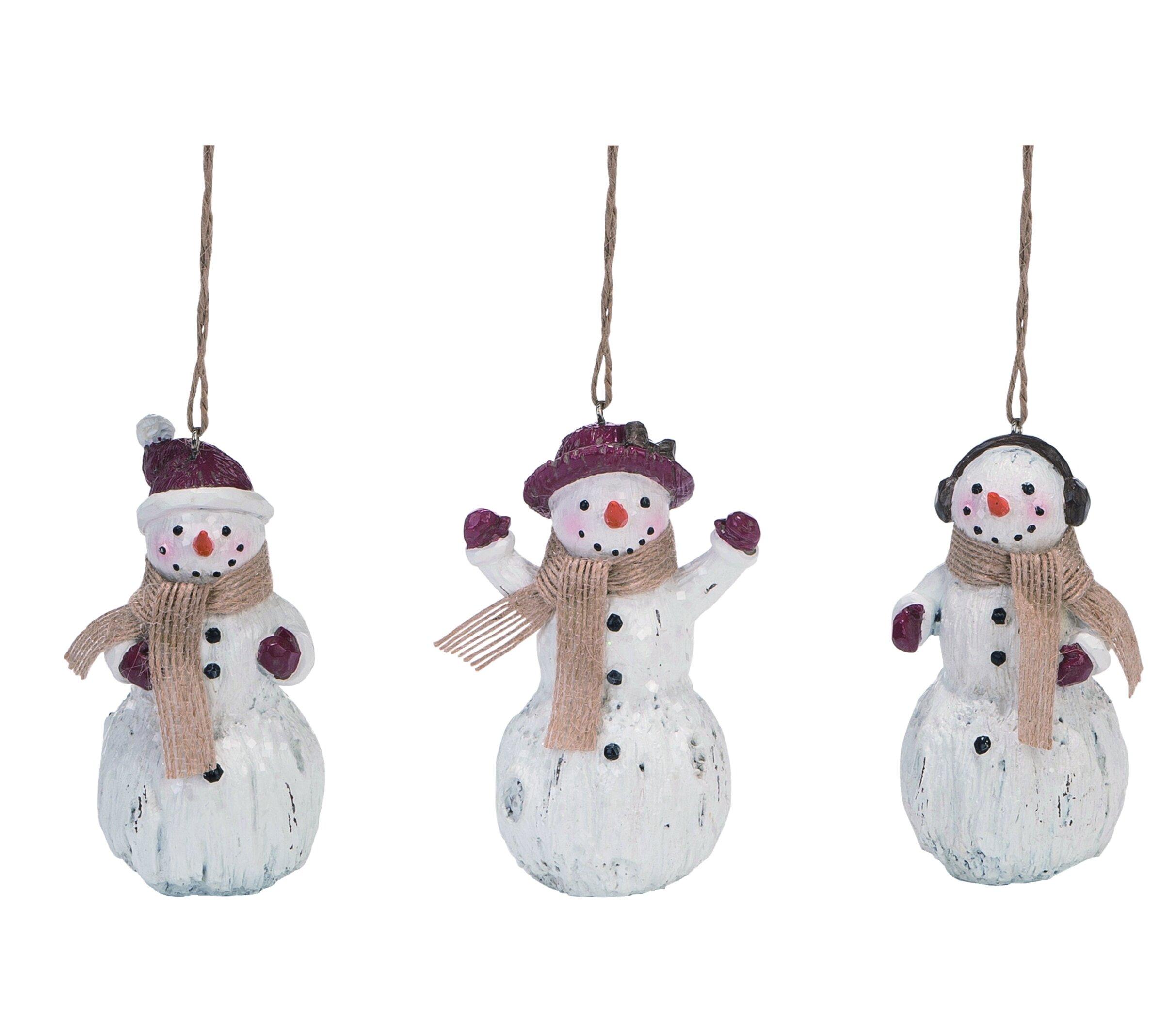 The Holiday Aisle 3 Piece Snowman Hanging Figurine Ornament Set Wayfair
