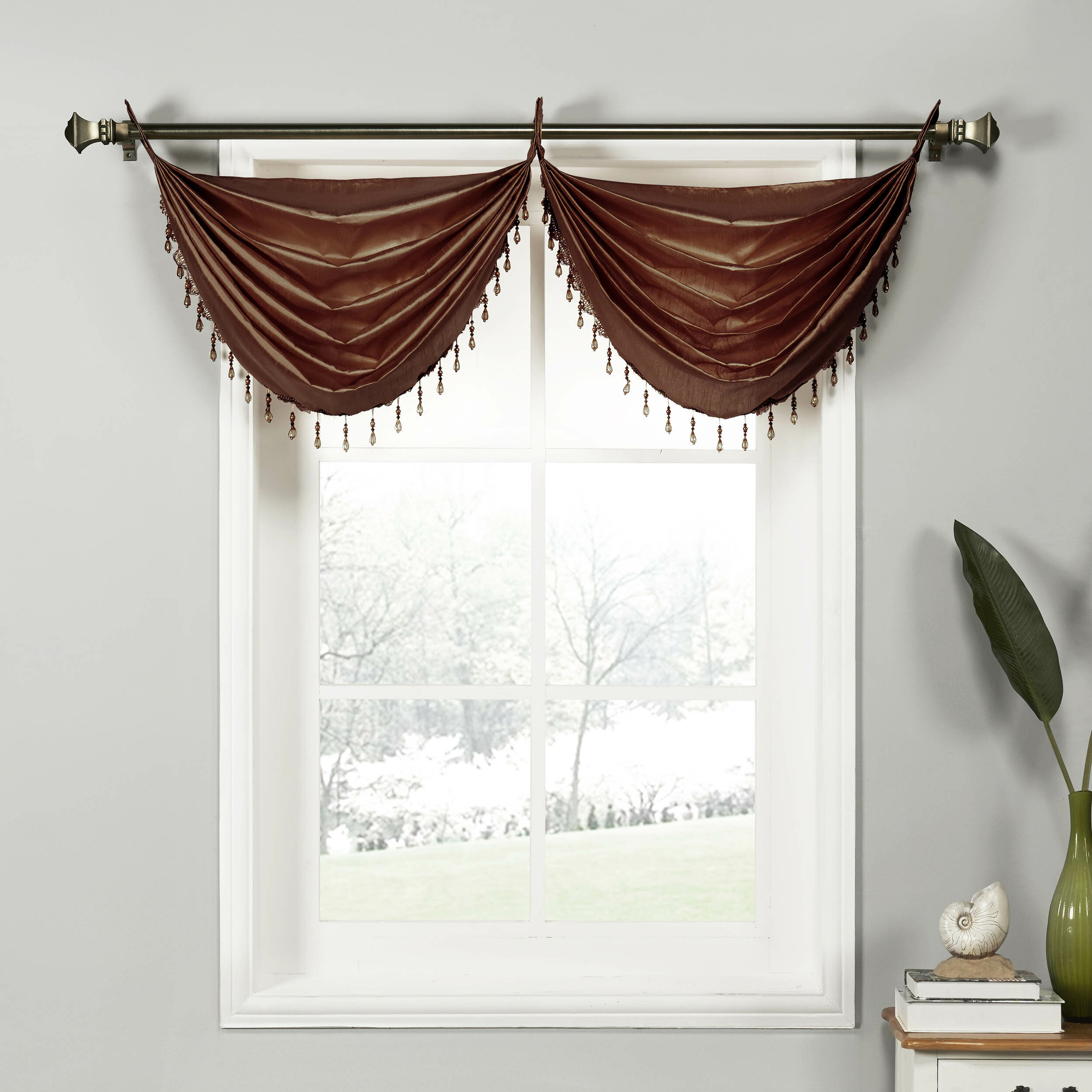 home and navy shipping blue orders valances product over garden overstock stripe on free valance shaped ticking white
