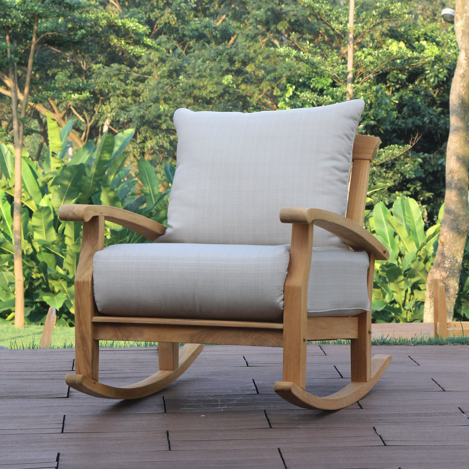 Birch Lane Heritage Summerton Teak Rocking Chair With Cushions