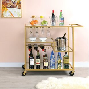 Pete Metal Framed Bar Cart by Everly Quinn