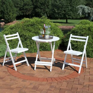 Ainsley Folding Wood Patio 3 Piece Bistro Set (Set of 3)