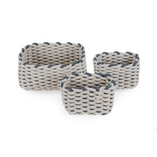 Rectangular Fabric 3 Piece Basket Set By Beachcrest Home