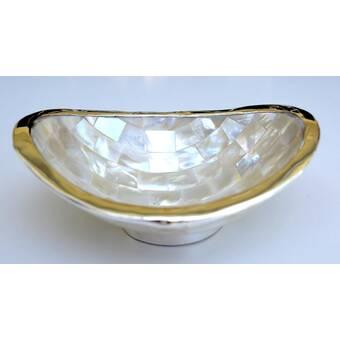 Global Views Ceramic Abstract Farmhouse Decorative Bowl In Pearl White Wayfair