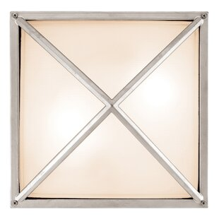 Reviews Grisborne 2-Light Outdoor Flush Mount By Breakwater Bay