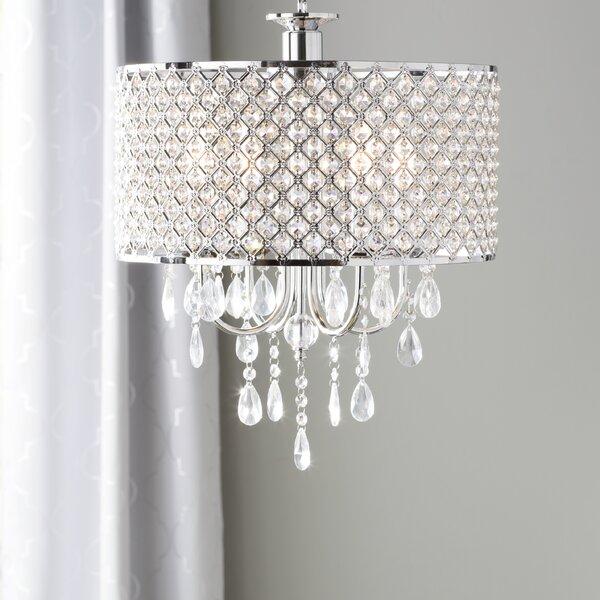 Aurore 4 light led crystal chandelier willa arlo interiors aurore 4 light led crystal chandelier reviews wayfair aloadofball Gallery