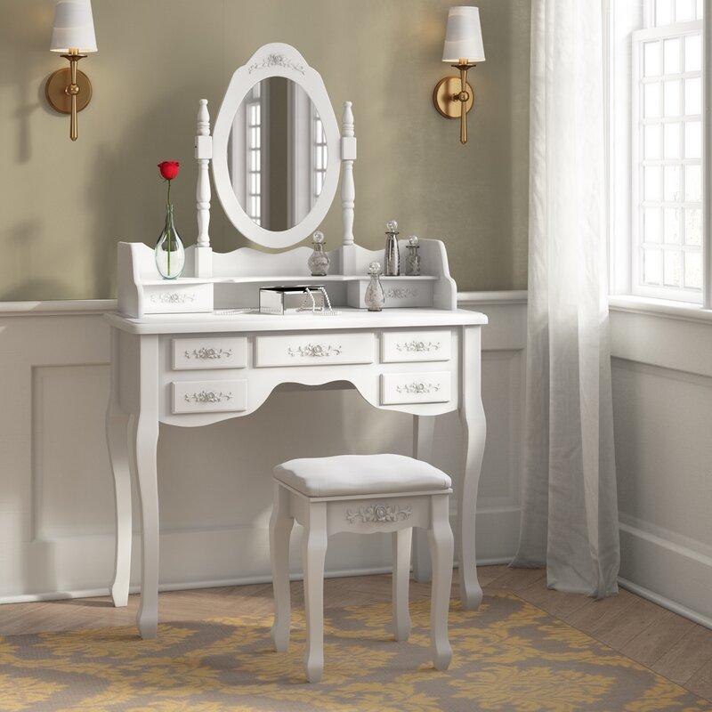 Mulligan Vanity Set with Stool and Mirror