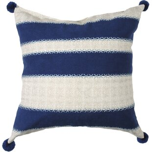 Embroidered Stripe 100% Cotton Throw Pillow