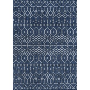 Speers Contemporary Geometric Navy Indoor/Outdoor Area Rug