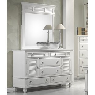 Highland Dunes Centreville 6 Drawer Combo Dresser with Mirror