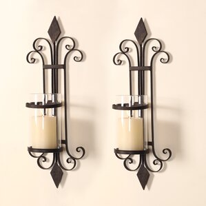 Traditional Iron Wall Sconce Candle Holder (Set Of 2)