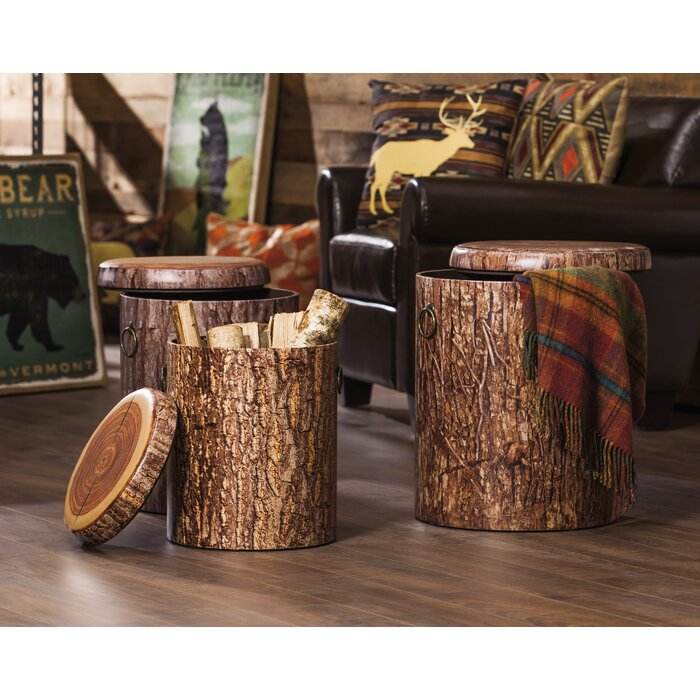 Fantastic Wellfleet 3 Piece Faux Tree Bark Storage Stump Accent Stool Set Camellatalisay Diy Chair Ideas Camellatalisaycom