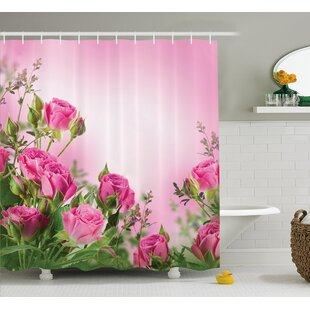 Reviews Fuller Spring Time Roses With Leaves and Buds With Pink Ombre Atmosphere Image Shower Curtain ByWinston Porter
