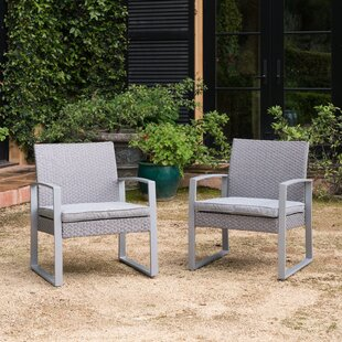 Orren Ellis Purtell Wicker Patio Chair with Cushions (Set of 2)